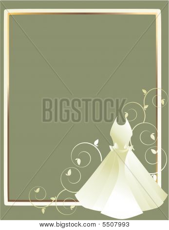 Wedding Dress Frame Gray Background