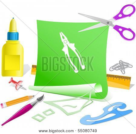 Combination pliers. Paper template. Raster illustration.