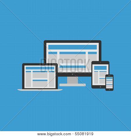 Responsive Design Concept. Vector