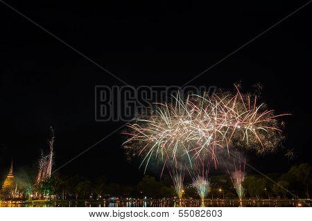 Firework With Pagoda At Sukothai Thailand