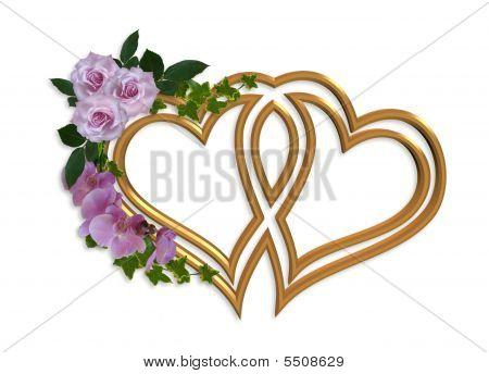Hearts Of Gold Wedding Invitation Design