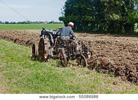 Plowing With An Old Tractor