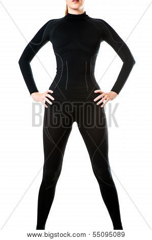 Sexy Woman In Black Hot Sports Thermal Underwear