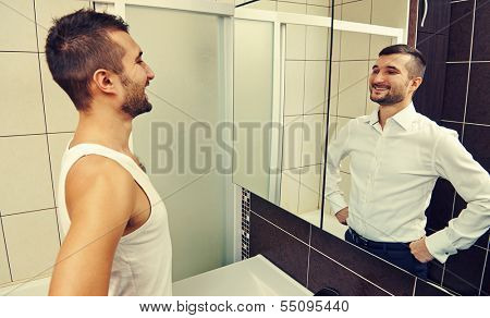 young man looking at successful himself