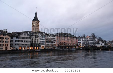 Zurich And The Limmat River In Twilight, Switzerland