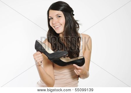 Woman Showing Off Classic Black Court Shoes