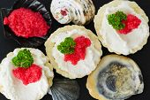 Caviar - appetizer, tartlets with red caviar