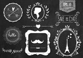 image of mustache  - Retro chalk elements and icons set for retro design - JPG