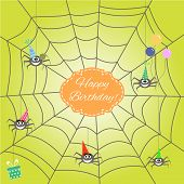 foto of baby spider  - greeting card with funny cartoon spider - JPG