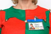 Close up on the name tag for one of Santa's helpers - the Chief Elf in the wrapping department. She'