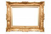stock photo of white gold  - old antique gold frame over white background - JPG