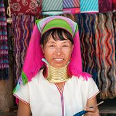MAE HONG SON, THAILAND - DECEMBER 4: Unidentified Karen tribal woman near Mae Hong Son, Thailand, Ch