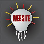 Website Bulb With Base Of Keywords Content Traffic Media Seo