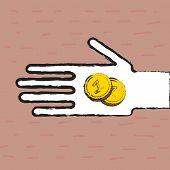 picture of beggar  - Beggar hand with two coins  - JPG