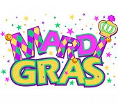 stock photo of tuesday  - Mardi Gras type treatment with crown - JPG