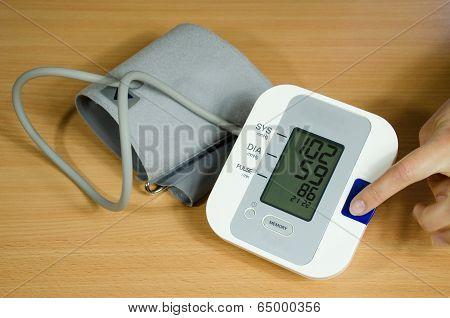 Measuring Blood Pressure Finger On Start Button