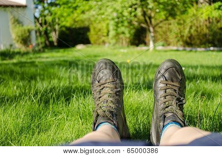 Close Up Of Women Sneakers Climbing Fine Grass
