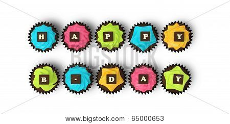 Happy Birthday Cupcakes Isolated On White Background