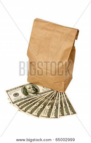Money With Brown Lunch Bag Isolated