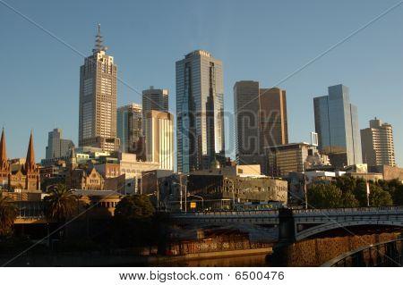 Ciudad de Melbourne, Australia, al amanecer