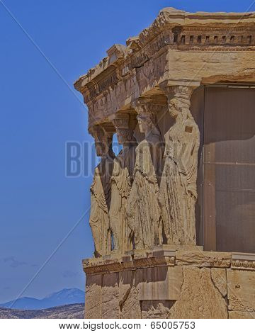 Caryatids and erechtheion temple, Athens Greece