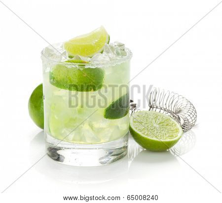 Classic margarita cocktail with lime and salty rim. Isolated on white background