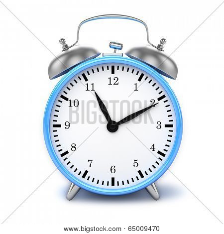 Blue retro styled classic alarm clock isolated on white
