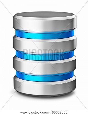 Hard disk drive data storage database icon symbol isolated on white background
