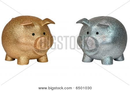Gold And Silver Piggy Banks