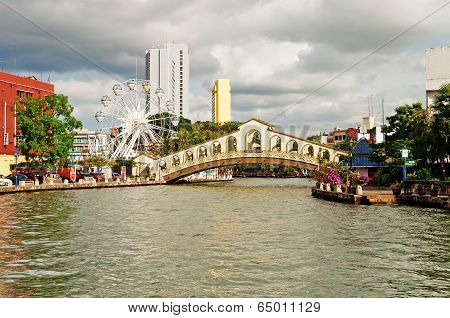 Eye On Melaka And Arch Bridge Over The River Near Jambatan Old Bus Station