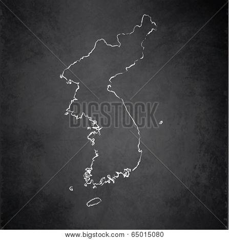 Korea map blackboard chalkboard raster
