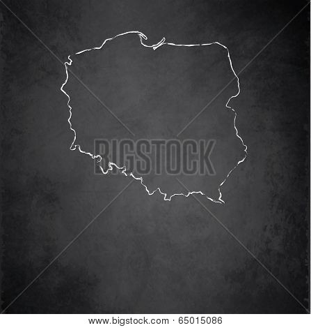 Poland map blackboard chalkboard raster