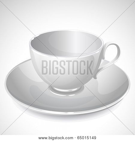 Vector illustration - empty cup on plate