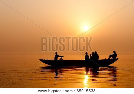 Sunrise on Ganges river