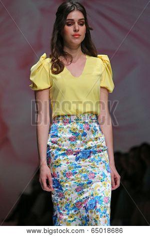 ZAGREB, CROATIA - MAY 09: Fashion model wearing clothes designed by Monika Sablic on the Zagreb Fashion Week on May 09, 2014 in Zagreb, Croatia.
