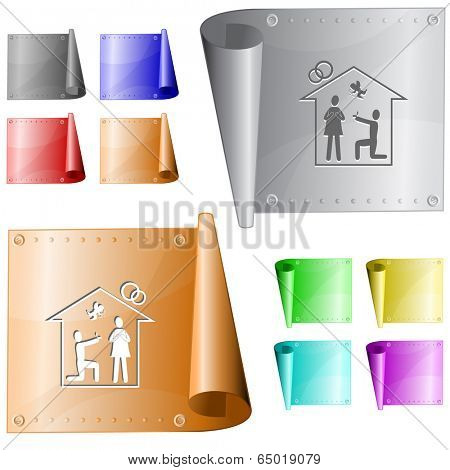 Home affiance. Vector metal surface.