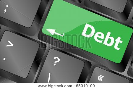 Computer Keyboard Key Debt, Business Concept