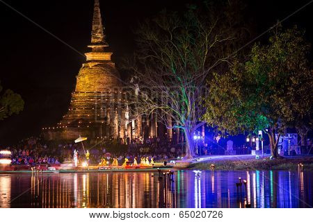 SUKHOTHAI, THAILAND, NOVEMBER 13: Outdoors Spectacle in Sukhothai historical park for the religious Loy Krathong buddhist festival on November 13, 2013, Sukhothai, Thailand