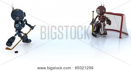3D Render of  Androids playing ice hockey