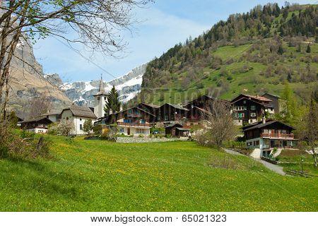 Inden church and surrounding village, Canton of Valais, Switzerland