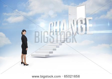 The word change and smiling businesswoman against steps leading to open door in the sky