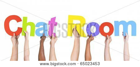 Diverse Hands Holding the Words Chat Room