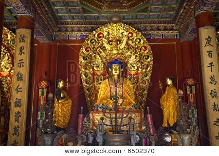 Blue Buddha Altar Details Yonghe Gong Buddhist Temple Beijing China