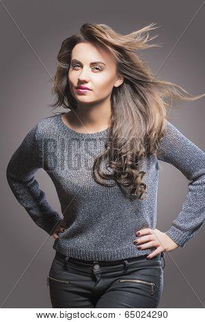 Sensual Glamorous Brunette Woman Portrait With Long Hair