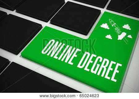 The word online degree and idea and innovation graphic on black keyboard with green key