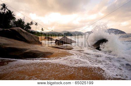 Sea waves on a tropical beach.