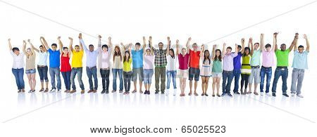 Large Group of People Holding Hands.