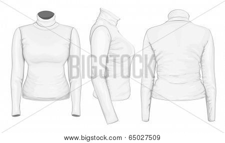 Vector. Women's turtleneck design templates (front, back and side views).