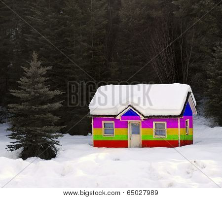 Heavy winter snow covering old house in forrest painted Rainboe Colors