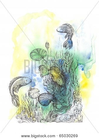 Abstract Background With Handwritten Painted Fish, Underwater World.